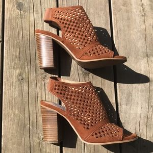 Steve Madden Perforated Peep Toe Heels 7.5